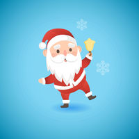 Christmas funny Santa Claus holding gold bell, vector illustration.