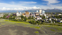 Aerial View Over The Town and Waterfront of Anchorage Alaska