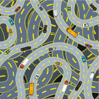 Complicated highway roads with different cars, top view seamless pattern