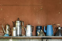 Old and used coffee pots