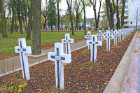Cemetery with graves of Ukrainian soldiers fighting for independence of Ukraine in Ivano-Frankivsk