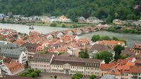 Aerial view on the Old Bridge and river Neckar, Heidelberg