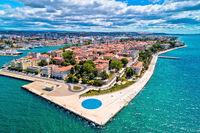Zadar. Town of Zadar historic peninsula panoramic aerial view,