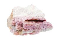 unpolished pink Tourmaline in feldspar isolated