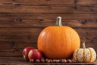 Autumn harvest on wooden table