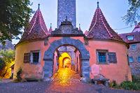 Rothenburg ob der Tauber. Western town gate (Burgtor) of medieval German town of Rothenburg ob der Tauber