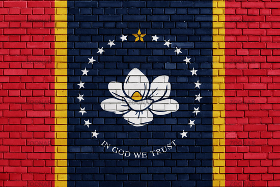 flag of Mississippi on brick wall