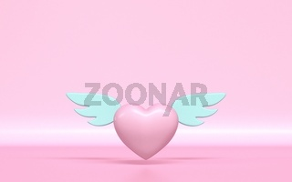 Heart with angel wings 3D
