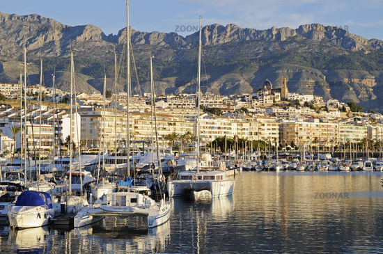 yacht harbour, Townscape, morning light, Altea, Costa Blanca, Spain, Europe
