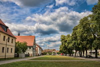 Annaburg, Germany - July 17th, 2019 - market square with tree-lined avenue
