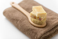 crafted soap bars, natural brush and bath towel