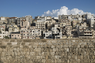 View to the slums from Citadel of Raymond de Saint-Gilles with cloud, Tripoli, Lebanon