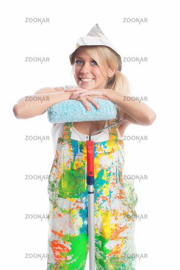 female painter with paint roller