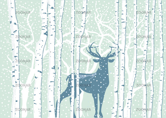 Deer in winter landscape with snowflakes