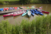 Colored boats on the river