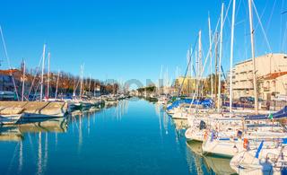 Boats in canal in Rimini
