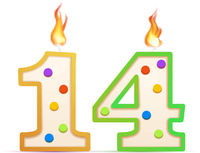 Fourteen years anniversary, 14 number shaped birthday candle with fire on white