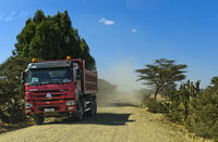Truck on a dustry country road in the Ethiopian Highlands, Hawzien, Tigray, Ethiopia