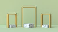 Abstract mock up podium with three marble square pedestals 3D