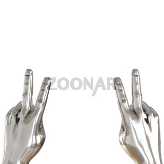 Two metal hands with two fingers raised up on a white background. 3d rendering
