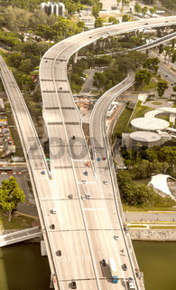 Aerial skyline of main road across the city, Singapore