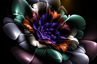 Dark fractal flower, meditation peace and relaxation, abstract modern background with fractal shapes for web design, flyers or art