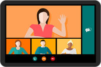 Tablet Video Conference Vector