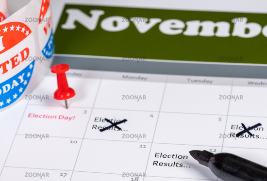 Calendar for November 2020 with election results marked and deleted as delays occur in counting votes