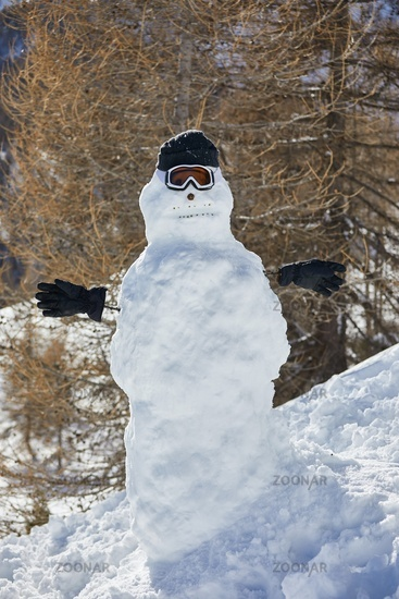 Portrait of a snowman in the mountains