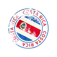 Costa rica sign, vintage grunge imprint with flag on white