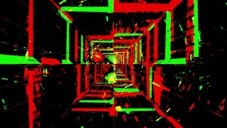 Color effects tunnel green and red blinking 3d illustration background wallpaper