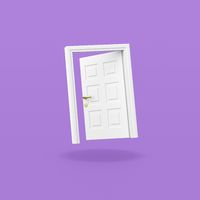 White Door on Purple Background