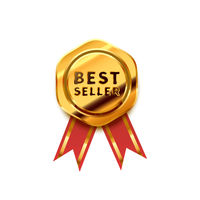 Golden badge with red tape, glossy best seller icon on white