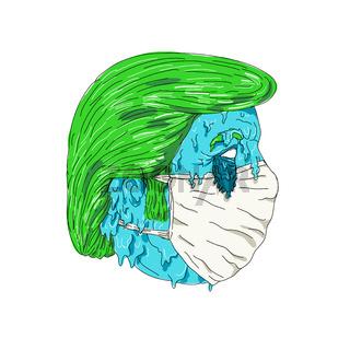 Coronavirus Man Wearing Mask Grime Art