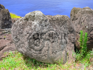 Rocks with rock engraving. Easter Island, traces ancient culture.