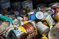 Waste of paints and varnishes in the recycling yard