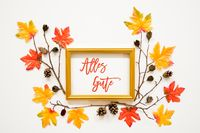 Colorful Autumn Leaf Decoration, Frame, Text Alles Gute Means Best Wishes