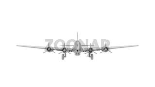 3D rednering of a world war two bomber plane white model