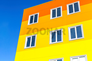 Facade of colorful modern residential building