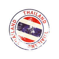 Thailand sign, vintage grunge imprint with flag on white