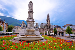 Bolzano main square Waltherplatz flowers and archiecture view