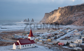 Vik Village and the cik i mydral church in Iceland Europe