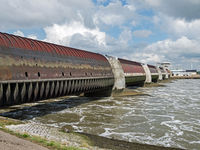 Eider barrage in Schleswig-Holstein at the mouth of river Eider into the North Sea, Germany, Europe
