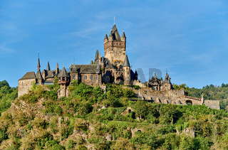 Beautiful Reichsburg castle on a hill in Cochem, Germany