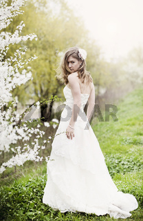 Beautiful bride in spring blossom