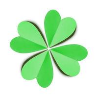 Handcraft paper green clover's four petals.