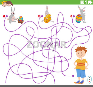 maze game with boy and Easter bunnies characters