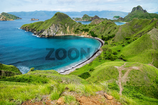 Palau Padar with ohm shaped beach in Komodo National Park, Flores, Indonesia