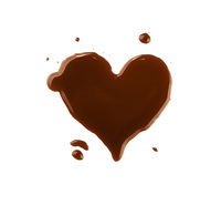 Heart shaped wet coffee stain over white
