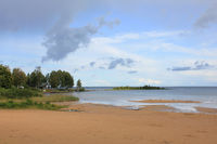 Empty sand beach at the shore of Lake Vanern, Sweden.